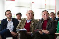 DEU, Deutschland, Germany, Berlin, 13.03.2016: V.l.n.r. Thorsten Weiß, Vorsitzender der Jungen Alternative Berlin, Hans-Joachim Berg, stv. AfD-Landesvorsitzender, Georg Pazderski, Berliner AfD-Landesvorsitzender, beim Landesparteitag der Partei Alternative für Deutschland (AfD) im Kolumbus Hotel.