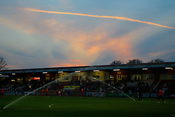 A general view of the ground at sunset  - Photo mandatory by-line: Mitchell Gunn/JMP - Tel: Mobile: 07966 386802 01/04/2014 - SPORT - FOOTBALL - Broadhall Way - Stevenage - Stevenage v Wolverhampton Wanderers - League One