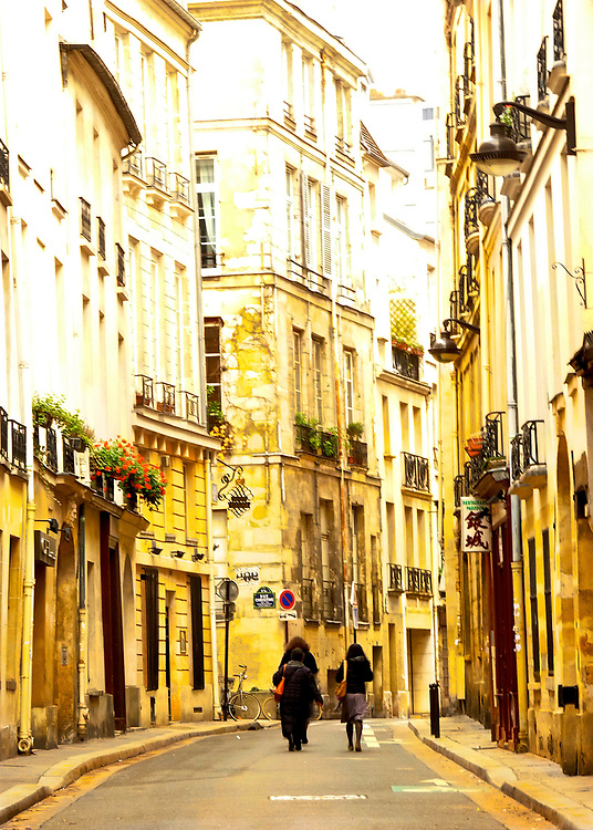 A typical residential street in Paris, France.