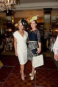 Fashionista Marietta Doran and Tara Lavin winner of the most stylish Lady, at the Hotel Meyrick Most Stylish Lady event on ladies day of The Galway Races. Photo:Andrew Downes