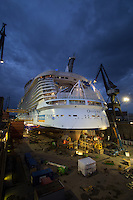 Royal Caribbean International's Oasis of the Seas – the world's largest cruise ship – in Keppel Verolme shipyard, Rotterdam. <br />   <br /> The 225,282-GRT Oasis of the Seas, which can accommodate up to 6,296 passengers is currently undergoing a routine refit ahead of its first ever port of call into the UK (Southampton) next week – 15th October. The ship will be 40 per cent larger than any other cruise ship to ever dock in the UK.