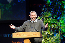 © Licensed to London News Pictures. 23/05/2014. Hay-on-Wye, UK. Poet and childrens author Michael Rosen gives a talk. The Hay Festival of Literature and Arts celebrates its 27th year in Wales. Photo credit : Graham M. Lawrence/LNP