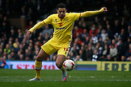Daniel Powell of Milton Keynes Dons attempting a shot late on in the game.  Skybet football league championship match, Fulham  v Milton Keynes Dons at Craven Cottage in London on Saturday 2nd April 2016.<br /> pic by Steffan Bowen, Andrew Orchard sports photography.