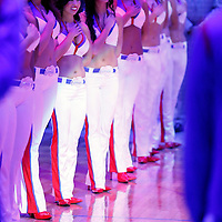 15 April 2014: Los Angeles Clippers Spirit Dance Team stand during the national anthem prior to the Los Angeles Clippers 117-105 victory over the Denver Nuggets at the Staples Center, Los Angeles, California, USA.