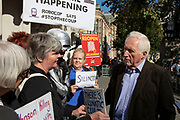 Television presenter and broadcaster David Dimbleby speaks to pro-remain protesters outside The Supreme Court as the first day of the hearing to rule on the legality of suspending or proroguing Parliament begins on September 17th 2019 in London, United Kingdom. The ruling will be made by 11 judges in the coming days to determine if the action of Prime Minister Boris Johnson to suspend parliament and his advice to do so given to the Queen was unlawful. David Dimbleby is a British journalist and former presenter of current affairs and political programmes, now best known for the BBCs long-running topical debate programme Question Time.