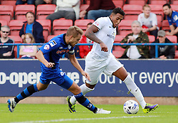 Peterborough United's Nathaniel Mendez-Laing in action with Rochdale's Olly Lancashire - Photo mandatory by-line: Joe Dent/JMP - Mobile: 07966 386802 09/08/2014 - SPORT - FOOTBALL - Rochdale - Spotland Stadium - Rochdale AFC v Peterborough United - Sky Bet League One - First game of the season