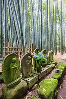 "Jizo at Hokoku-ji Bamboo Garden Hokoku-ji Bamboo Garden - Hokoku-ji Kamakura is world famous for its bamboo garden containing more than 2000 Moso bamboos trees. Its nickname is Take-dera ""Bamboo Temple"" for that reason.  The bamboo garden is punctuated with stone lanterns, jizo and moss covered stones.  Besides the popular bamboo garden, and teahouse, Hokokuji also has a often overlooked Zen garden   Ashikaga Ietoki, ordered Zen priest Tengan Eko to establish Hokoku-ji. This temple became the family temple of the Ashikaga clan. Tengan was a disciple of Mugaku Sogen a contemporary of famous garden designer Muso Kokushi."