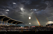 COMMERCE CITY, CO  - JUNE 5 :  A rainbow forms in the background as the Colorado Rapids play the Columbus Crew during the first half at Dick's Sporting Goods Park June 5, 2010 in Commerce City, Colorado.  The Rapids won the game 1-0. (Photo by Marc Piscotty/ © 2010)
