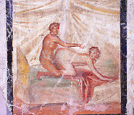 1 cent AD Roman Erotic  fresco of a man & woman having sex  from a house in Pompeii. Naples Archaological Museum inv no: 27696 .<br /> <br /> If you prefer to buy from our ALAMY PHOTO LIBRARY  Collection visit : https://www.alamy.com/portfolio/paul-williams-funkystock - Scroll down and type - Roman Art Erotic  - into LOWER search box. {TIP - Refine search by adding a background colour as well}.<br /> <br /> Visit our ROMAN ART & HISTORIC SITES PHOTO COLLECTIONS for more photos to download or buy as wall art prints https://funkystock.photoshelter.com/gallery-collection/The-Romans-Art-Artefacts-Antiquities-Historic-Sites-Pictures-Images/C0000r2uLJJo9_s0