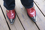 """An example of the shoes found in any rocker's wardrobe, worn by Wise """"Doc"""" Smith, Thursday, July 26, 2012, at Liquid Sound Studios in Greenville, Ind. (Photo by Brian Bohannon)"""
