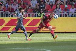 August 12, 2018 - Toronto, Ontario, Canada - MLS Game at BMO Field 2-3 New York City. IN PICTURE: NICK HAGGLUND, MAXIMILIANO MORALEZ (Credit Image: © Angel Marchini via ZUMA Wire)