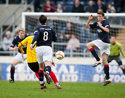 Partick Thistle's Paul Cairney scoring their first goal..half time, Falkirk v Partick Thistle, 10/3/2012..©Michael Schofield.