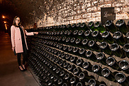 Touring the Champagne Lanson cellars and production facility in Reims, France.