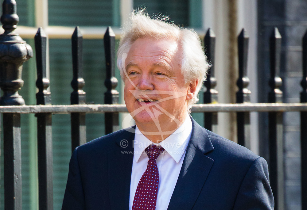 Secretary of State for Exiting the European Union David Davis arrives at 10 Downing Street to attend the weekly cabinet meeting.