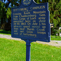Cashtown, PA, USA - September 6, 2020: The Gettysburg Campaign Historic Marker located near the Cashtown Inn, about 8 miles west of Gettysburg.