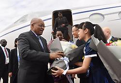 September 2, 2017 - Xiamen, China - South African President JACOB ZUMA is given flowers as he arrives in Xiamen to attend the 2017 BRICS Summit. (Credit Image: © Jin Liangkuai/Xinhua via ZUMA Wire)