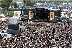 The view from the ferris wheel of the main stage area as Paolo Nutini plays on the main stage at T in the Park Sunday 8 July 2007, at Balado, Fife...