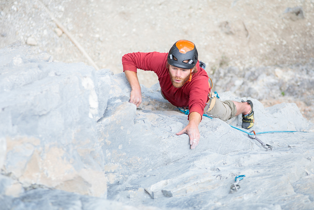 Max Fisher leading Grip Profile, 5.11d at Bataan, Canmore, Alberta