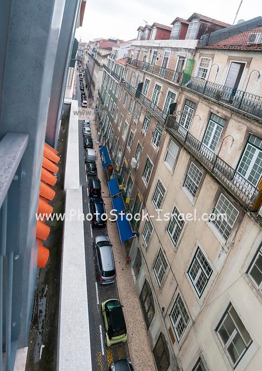 Elevated street view, Baixa, Lisbon, Portugal