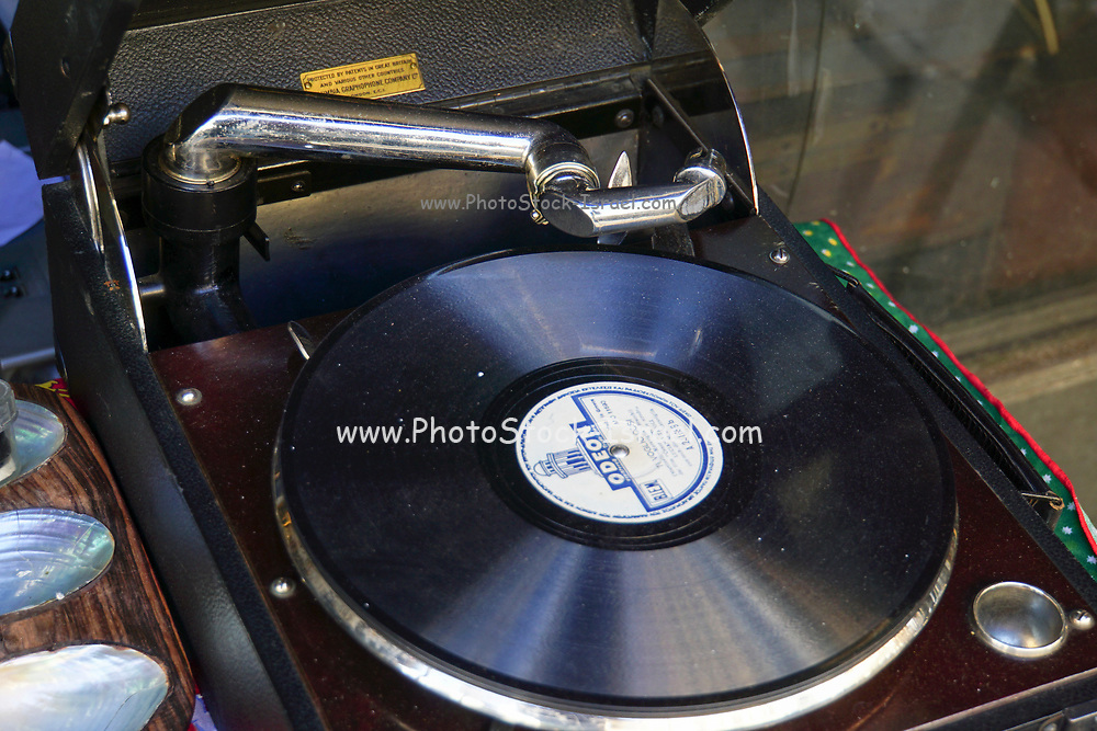 Old 78 records and gramophone. Photographed in the Flea Market, Athens, Greece