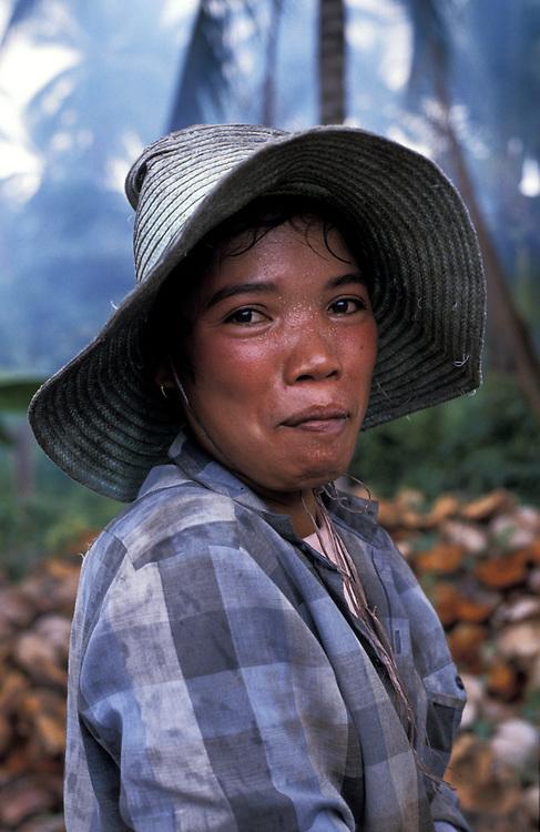 Portrait of a coconut farmer, Koh Samui, Thailand. 1988