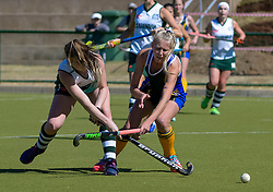 Jayde Harty of Clarendon(white)  and Casey-Jean Botha of Eunice during day one of the FNB Private Wealth Super 12 Hockey Tournament held at Oranje Meisieskool in Bloemfontein, South Africa on the 6th August 2016<br /> <br /> Photo by:   Frikkie Kapp / Real Time Images