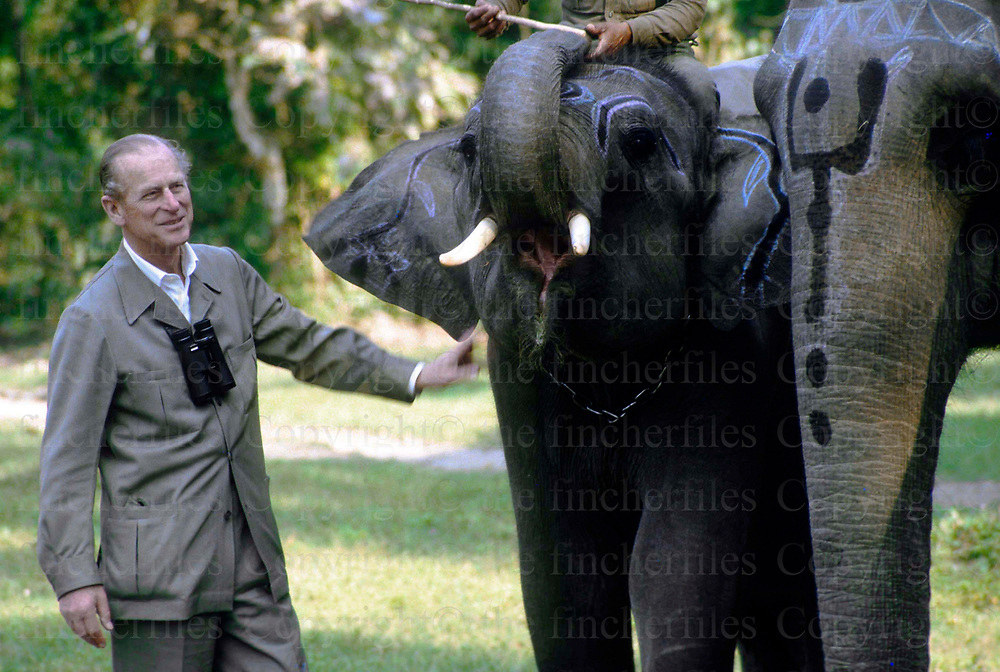 Prince Philip, The Duke of Edinburgh seen during a visit to an elephant conservation project with the World Wildlife Fund in Sri Lanka in the Chitwan National Park IN 1986.