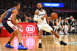 December 29, 2018 - Los Angeles, CA, U.S. - LOS ANGELES, CA - DECEMBER 29: San Antonio Spurs Guard Patty Mills (8) looks to make a pass during a NBA game between the San Antonio Spurs and the Los Angeles Clippers on December 29, 2018 at STAPLES Center in Los Angeles, CA. (Photo by Brian Rothmuller/Icon Sportswire) (Credit Image: © Brian Rothmuller/Icon SMI via ZUMA Press)