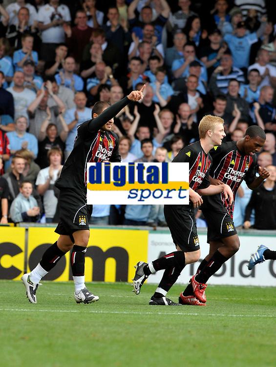 Manchester City's Valeri Bojinov (L) celebrates his goal.<br />Photo: Paul Greenwood/Richard Lane Photography. Stockport County v Manchester City. Pre Season Friendy. 02/08/2008.