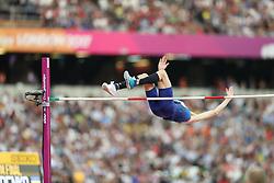 London, August 13 2017 . Bohdan Bondarenko, Ukraine, in the men's high jump final on day ten of the IAAF London 2017 world Championships at the London Stadium. © Paul Davey.