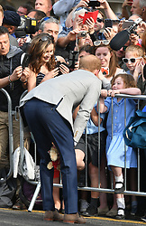 Prince Harry during a walkabout in Windsor ahead of his wedding to Meghan Markle this weekend to meet members of the public.