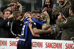 October 21, 2018 - Milan, Milan, Italy - Mauro Icardi #9 of FC Internazionale Milano celebrate a victory with Wanda Nara and sons at the end of the serie A match between FC Internazionale and AC Milan at Stadio Giuseppe Meazza on October 21, 2018 in Milan, Italy. (Credit Image: © Giuseppe Cottini/NurPhoto via ZUMA Press)