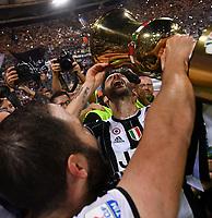 Gonzalo Higuain and Leonardo Bonucci drink from the cup. Beve dalla coppa <br /> Juventus vince la coppa Italia <br /> Juventus wins the trophy <br /> Roma 17-05-2017 Stadio Olimpico Finale Coppa Italia 2016/2017 Juventus - Lazio Foto Andrea Staccioli / Insidefoto