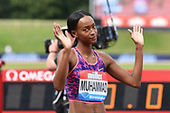 Delilah Muhammed  before the Women's 400m hurdles at the Muller Grand Prix Birmingham 2017 at the Alexander Stadium, Birmingham, United Kingdom on 20 August 2017. Photo by Martin Cole.