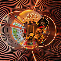 Bessa Hotel Lobby. Expanded Little Planet View. Composite of 26 images from a Nikon D850 camera and 8-15 mm fisheye lens (ISO 1600, 15 mm, f/8, 1/60 sec). Raw images processed with Capture One Pro and the composite generated with AutoPano Giga Pro.