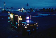 A holiday themed WWII ambulance outside the VFW Post 4108.  Redmond, Oregon.  December 12, 2010.