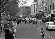 May Day Demonstration March.       (N72).<br /> 1981.<br /> 01.05.1981.<br /> 05.01.1981.<br /> 1st May 1981.<br /> As part of International Workers Day the Irish Congress of Trades Unions organised a protest march in Dublin. The march to Dail Éireann was to highlight the inequities in wages,taxes etc carried by the working classes in Ireland. The May Day protest in Dublin was mirrored across Europe.<br /> Image shows the Dublin Council of Trade Unions leading the march from Parnell Square down through O'Connell Street on their way to Government Buildings.