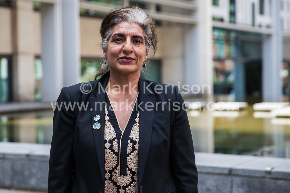 London, UK. 30th April 2019. Climate change activist from Extinction Rebellion Farhana Yamin, a climate change lawyer and former lead author of the IPCC, coordinator of the Political Strategy Team and experienced UN negotiator, stands outside the Home Office after attending a meeting hosted by the Secretary of State for the Environment Michael Gove.