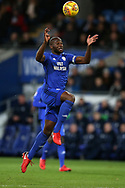 Sol Bamba of Cardiff city in action  .EFL Skybet championship match, Cardiff city v Preston North End at the Cardiff city stadium in Cardiff, South Wales on Friday 29th December 2017.<br /> pic by Andrew Orchard, Andrew Orchard sports photography.