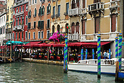 Restaurant and hotel along the frontage of the Grand Canal in Venice, Italy