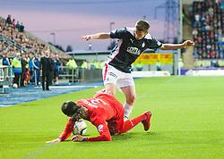 Rangers Bilel Moshsni and Falkirk's Conor McGrandles. Falkirk 0 v 2 Rangers, Scottish Championship game played 15/8/2014 at The Falkirk Stadium.