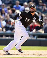 CHICAGO - MAY 14:  Yonder Alonso #17 of the Chicago White Sox fields against the Cleveland Indians on May 14, 2019 at Guaranteed Rate Field in Chicago, Illinois.  (Photo by Ron Vesely)  Subject:  Yonder Alonso