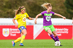 Lucy Graham of Bristol City is challenged by Paige Williams of Birmingham City Women - Mandatory by-line: Ryan Hiscott/JMP - 14/10/2018 - FOOTBALL - Stoke Gifford Stadium - Bristol, England - Bristol City Women v Birmingham City Women - FA Women's Super League 1
