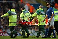 Mark Viduka (Middlesbrough) is stretchered off injured. Birmingham City v Middlesbrough, FA Premiership, 26/12/2004. Credit: Back Page Images / Matthew Impey