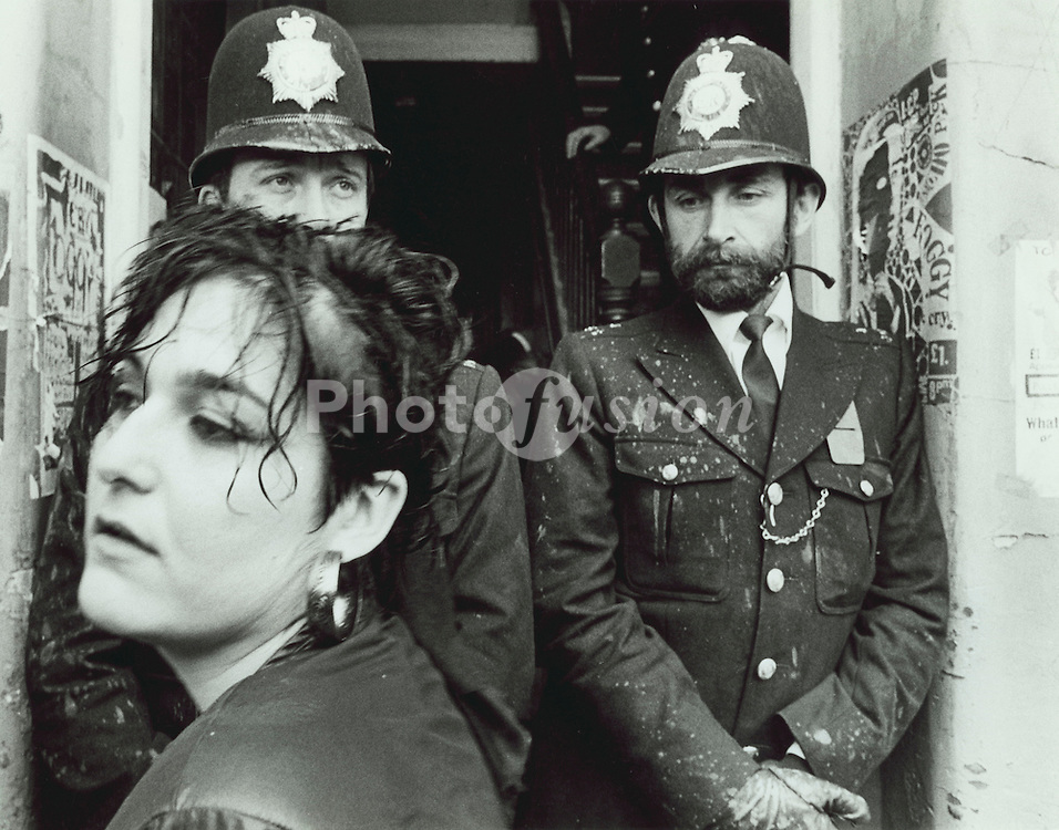 A squatter is evicted from the Pullens Estate; Walworth Road; Southwark; London in a mass eviction on Tuesday 10 June 1986