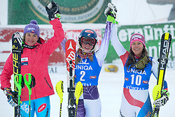 29.12.2014, Hohe Mut, Kühtai, AUT, FIS Ski Weltcup, Kühtai, Slalom, Damen, Siegerehrung, im Bild v.l.: zweite Sarka Strachova (CZE), Siegerin Mikaela Shiffrin (USA) und dritte Wendy Holdener (SUI) // f.l.: second placed Sarka Strachova of Czech Republic, Winner Mikaela Shiffrin of the USA ad third placed Wendy Holdener of Switzerland celebrates on Podium during the award ceremony after Ladies Giant Slalom of the Kuehtai FIS Ski Alpine World Cup at the Hohe Mut Course in Kuehtai, Austria on 2014/12/29. EXPA Pictures © 2014, PhotoCredit: EXPA/ Erich Spiess
