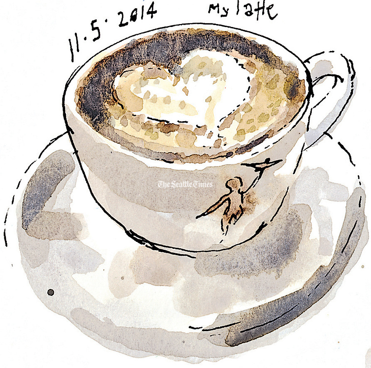 A latte with a perfectly-shaped foam heart from Storyville Coffee at Pike Place Market.<br /> <br /> Gabriel Campanario / The Seattle Times