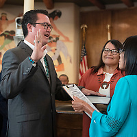 Carl Roessel Slater is sworn in to the 24th Navajo Nation Council by Navajo Nation Supreme Court Chief Justice JoAnn Jayne as the Council Delegate for the Tsaile/ Wheatfields, Lukachukai, Round Rock, Tséch'izhí and Rock Point Chapters at the Navajo Nation Council Chamber October 10 in Window Rock.