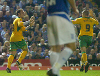 Photo: Glyn Thomas.<br />Birmingham City v Norwich. Carling Cup.<br />26/10/2005.<br />Norwich's Dean Ashton (L) celebrates scoring his first half goal.