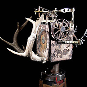 """""""Deer"""" Camera.  4""""x5"""" film camera made from steel, aluminum, brass, copper, gun parts, bullets, deer antlers and ivory."""